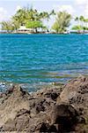 Formations rocheuses en bord de mer, Liliuokalani Park et jardins, Hilo, archipel de Big Island, Hawaii, USA