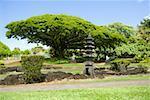 Structure au bord de la route, Liliuokalani Park et jardins, Hilo, archipel de Big Island, Hawaii, USA
