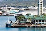 Cruise ship at a harbor, Honolulu Harbor, Honolulu, Oahu, Hawaii Islands, USA