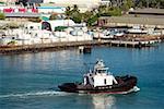 High angle view of a tugboat at a harbor, Honolulu Harbor, Honolulu Oahu, Hawaii Islands, USA