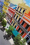 High angle view of sidewalk cafes along a road, Old San Juan, San Juan, Puerto Rico