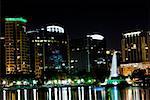 Skyscrapers at night, Orlando, Florida, USA