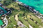 Aerial view of tourist resorts along the sea, Florida Keys, Florida, USA