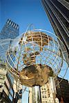 Low angle view of a globe at Columbus circle, Manhattan, New York City, New York State, USA