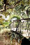 Trellis and the footbridge in a park, Savannah, Georgia, USA