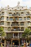 Facade of a building, La Pedrera, Barcelona, Spain