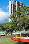 Low angle view of a skyscraper in a city, Honolulu, Oahu, Hawaii Islands, USA