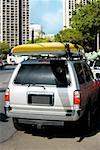 Kayak over a car, Honolulu, Oahu, Hawaii Islands, USA