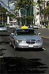 Taxi moving on the road, Honolulu Oahu, Hawaii Islands, USA