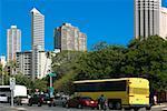 Traffic moving on the road in a city, Honolulu, Oahu, Hawaii Islands, USA