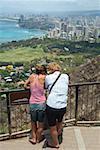 Rear view of a man and a woman standing at an observation point, Diamond Head, Waikiki Beach, Honolulu, Oahu, Hawaii Islands,