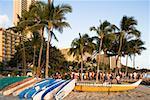 Boats on the beach, Waikiki Beach Honolulu, Oahu, Hawaii Islands, USA