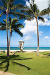 Lifeguard hut on the beach, Waikiki Beach, Honolulu, Oahu, Hawaii Islands, USA