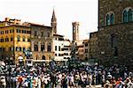 Tourists in a city, Piazza Della Signoria, Florence, Tuscany, Italy
