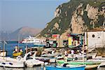 Bateaux à quai, Marina Grande, Capri, Campanie, Italie
