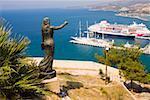 High angle view of a passenger ship at a harbor, Ephesus, Turkey