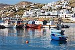Boats in the sea, Mykonos, Cyclades Islands, Greece