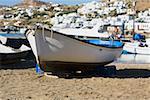 Boat on the beach, Mykonos, Cyclades Islands, Greece