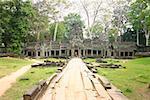 Path leading towards a temple, Angkor Wat, Siem Reap, Cambodia