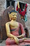 Close-up of a statue of Buddha, Swayambhunath, Kathmandu, Nepal