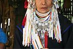 Close-up of a senior woman in traditional clothing, Chiang Khong, Thailand