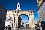 Entrance gate of a plaza, Plaza- de-Armas, Arequipa, Peru