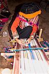 Woman weaving in a loom, Aguanacancha, Peru