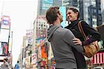 Couple Hugging in City, New York City, New York, USA