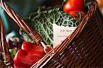 Nahaufnahme der Korb mit Obst und Gemüse