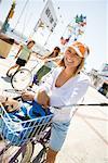 Woman on Bike at the Beach, Newport Beach, Orange County, California, USA