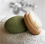 Nature morte de la brosse avec du savon argile