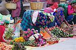 Woman Preparing Produce at Market, Oaxaca, Mexico