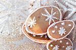 Orange biscuits with snow crystals
