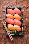 Tray of nigiri sushi to take away