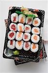 Maki sushi with tuna and salmon to take away