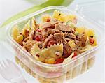 Pasta salad with tuna in plastic container