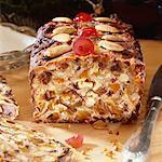 Fruit loaf, partly sliced