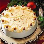Nut cake, fir branches behind