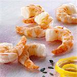 Several shrimp tails, thyme and lemon rind