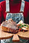 T-bone steak with garlic