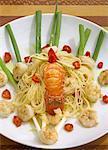 Bahian spaghetti with shrimps and spiny lobster