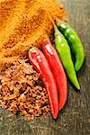 Chili peppers, chili flakes and chili powder
