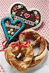 Pretzel, lye roll and Lebkuchen hearts for Oktoberfest