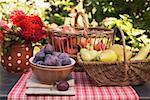 Pflaumen in Schale, Birnen und Äpfel im Korb auf Gartentisch