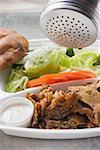 Sprinkling seasoning on döner kebab on lunch tray