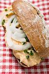 Brötchen mit Obatzter (Camembert zu verbreiten) & Zwiebeln auf aktivierten Tuch