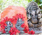 Close-up a statue of God Ganesha with Goddess Durga