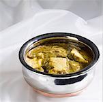 Close-up of a bowl of palak paneer