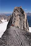 Climbers on Ridge, Bugaboo Mountains, British Columbia, Canada