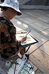 Woman on Bench Painting, Po Lin Monastery, Lantau Island, Hong Kong, China